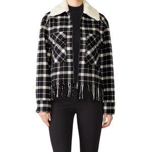 Kate spade plaid fleece rustic fringe jacket D15
